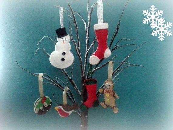Christmas Tree Decorations made from Felt by NandDCraftCabin, £2.85