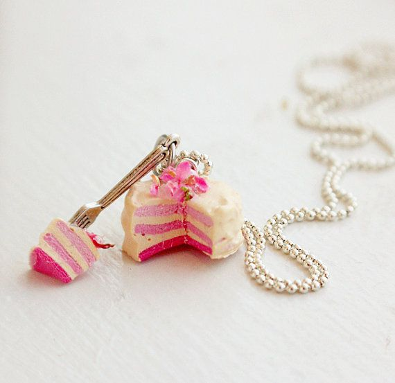 Pink Rainbow Cake Necklace Food Necklace - Miniature Food Jewelry