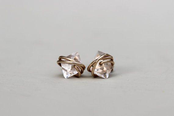 Herkimer Diamond Earrings Petite Herkimer Studs by DesignedByLei