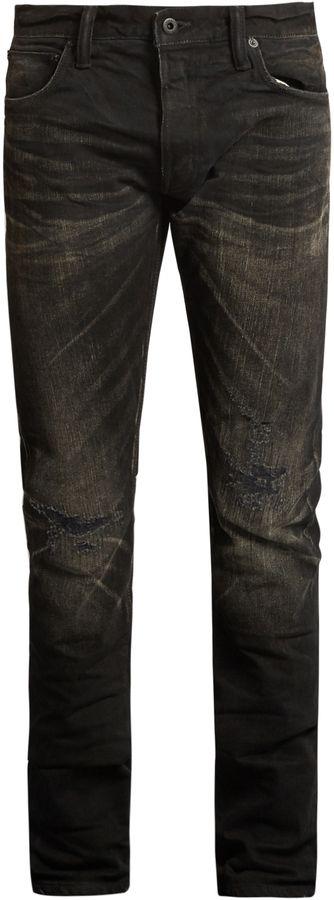 MASTERCRAFT UNION Slim tapered-leg distressed-knee jeans