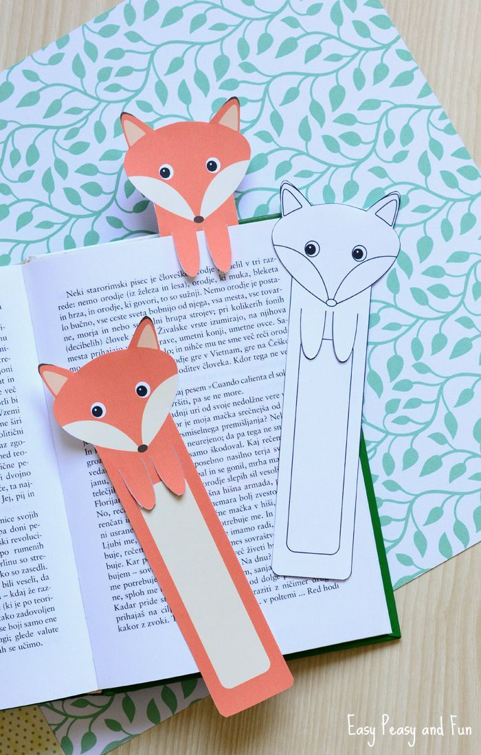 Printable Fox Bookmarks - DIY Bookmarks - Easy Peasy and Fun
