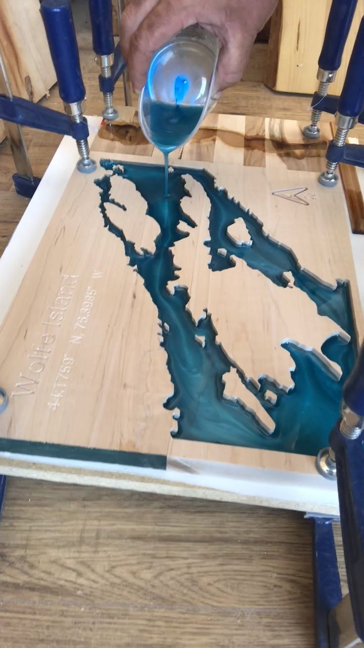 Pouring Epoxy Lake Map