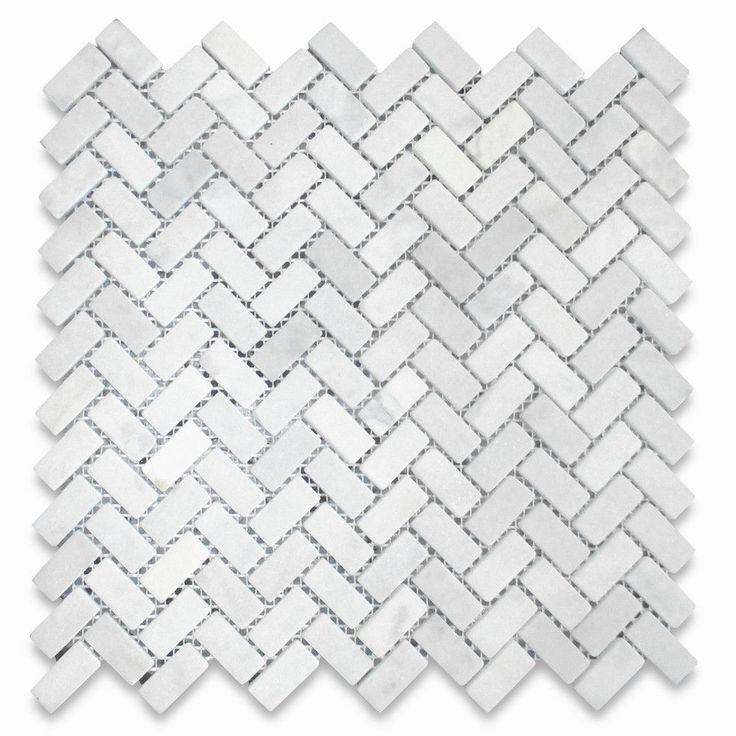 Shower floor tile - Carrara White 5/8x1-1/4 Herringbone Mosaic Tile Tumbled - Marble from Italy