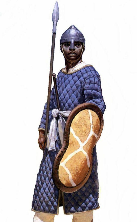 Christian Nubian infantryman of the Kingdom of Makuria in the 10th century AD.