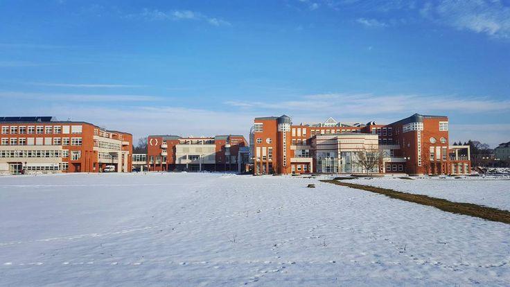University of Hradec Králové in Winter  #hradeckralove #travel #university #uhk #FIM #architecture #modernarchitecture #winter #snow #bluesky #morning #street #streetphotography #galaxys6
