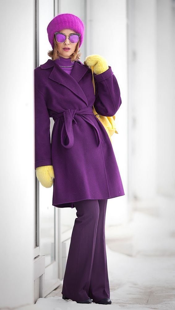 purple outfit | total purple look | max mara coat | gentle monster sunglasses | winter outfits | coat outfit |