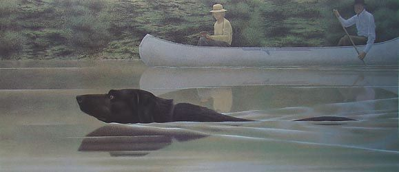 """""""Swimming dog and canoe"""" (1979) by Alex Colville via tendreams."""