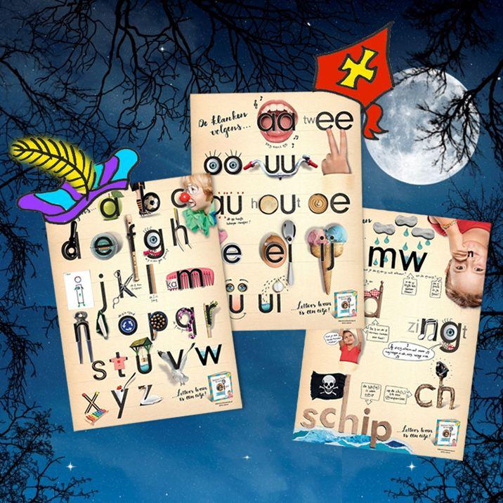 """★ Alle vroege hulpsinterklazen opgelet! ★ T/m 12 nov a.s.  géén verzendkosten op de """"Letters leren is een eitje!""""-posterset met kortingscode """"sintset17"""" #sinttip #sinterklaas #letterposter #klankposter #lettersleren #lerenlezen #leesplezier #letterpret #basisschool #groep3 #ezelsbruggetjes"""