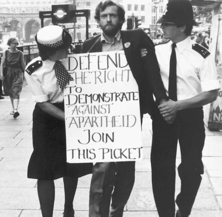 Jeremy Corbyn at an anti-Apartheid protest in London, 1984
