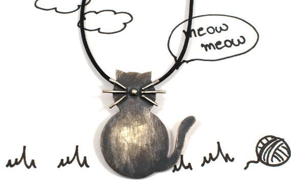 Cat necklace cat jewelry love cat sterling silver by Akatergasto