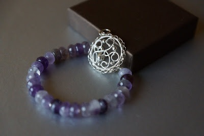 My first wire wrapped bracelet with amethyst