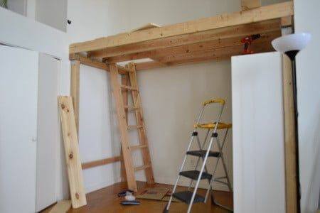We then installed a clothing wardrobe free standing closet under the loft