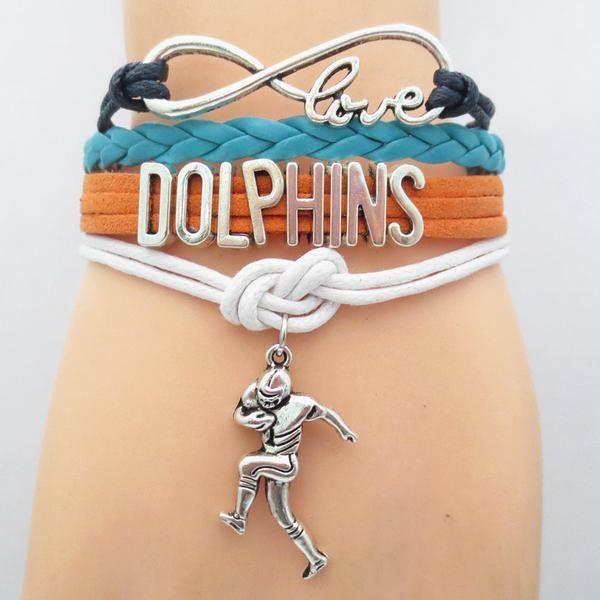 NFL Miami Dolphins Football Team Bracelet