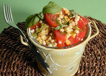 Grilled Corn and Tomato Salad with Basil Oil