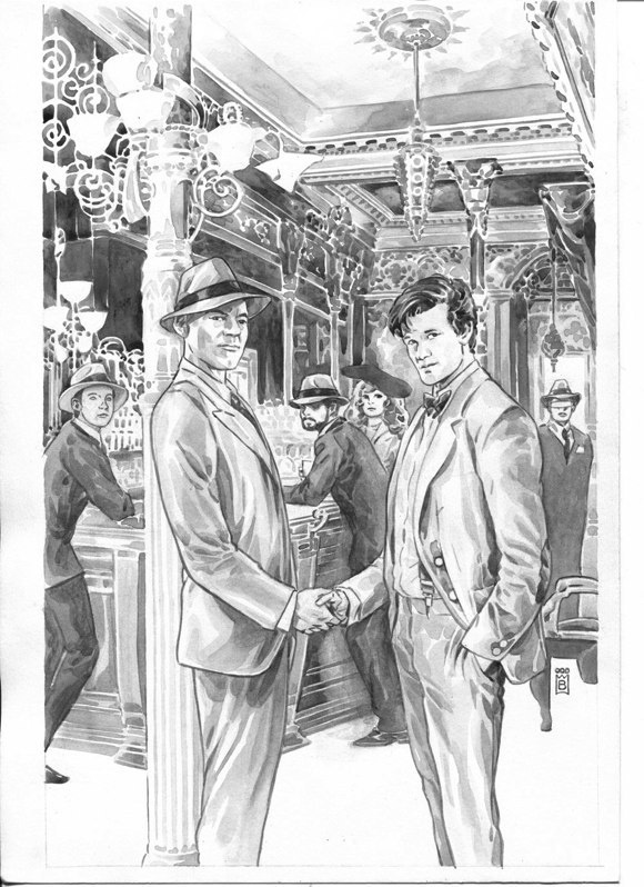 Some never before seen sketches for the Star Trek/Doctor Who crossover!
