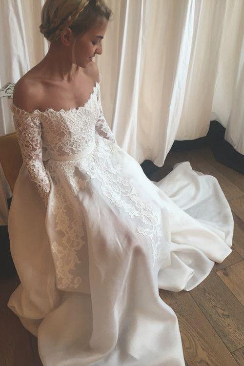A-line Off Shoulder Court Train Chiffon Lace Wedding Dress