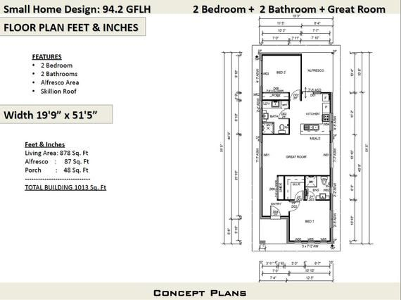 Small House Plan 1000 Sq Foot 94 2 Sq Meters 2 Bedroom House