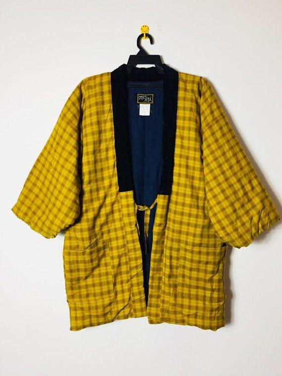Vintage Japanese Hanten Jacket Kimono Hanten Jacket Yellow Checkered Hanten Padded Japan Streetwear Japan Fashio Oversize Fashion Japan Fashion Fashion
