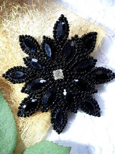"Black Snowflake - Jewel Beaded headband Applique 3"""