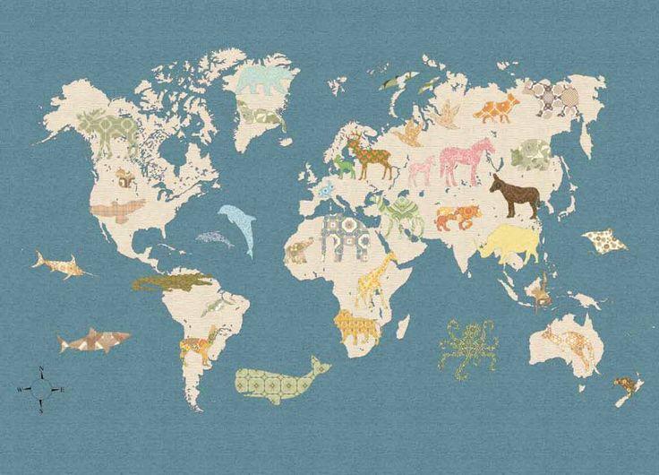 Inke Wandbild Weltkarte dunkelblau