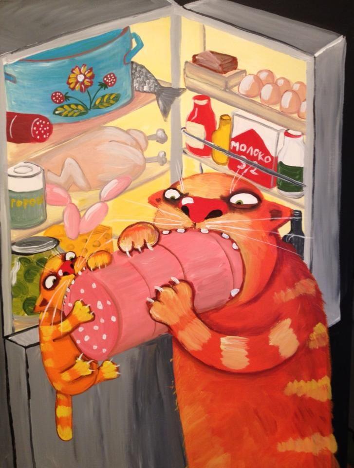 Ест колбасу-смешные картинки