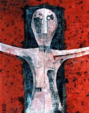 Femme. Rufino Tamayo (1899- 1991) was a Mexican painter of Zapotec heritage. Tamayo was active in the mid-20th century in Mexico and New York, painting figurative abstraction with surrealist influences.