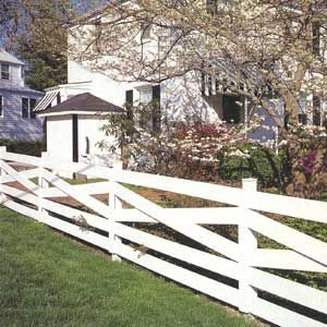 "For posts that support a gate or are freestanding at the end of the fence, pour a concrete footing - Dig the hole below the frost line, add 4"" of gravel, set in the post, brace it and fill the hole with concrete - This Old House"