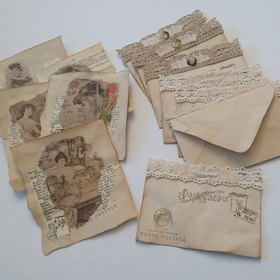 Making embellishments and stuff for my junk journals - everything is coffee dyed paper, some vintage dictionary pages, cheesecloth, old note sheets, napkins, stamping, lace, and more. ☺