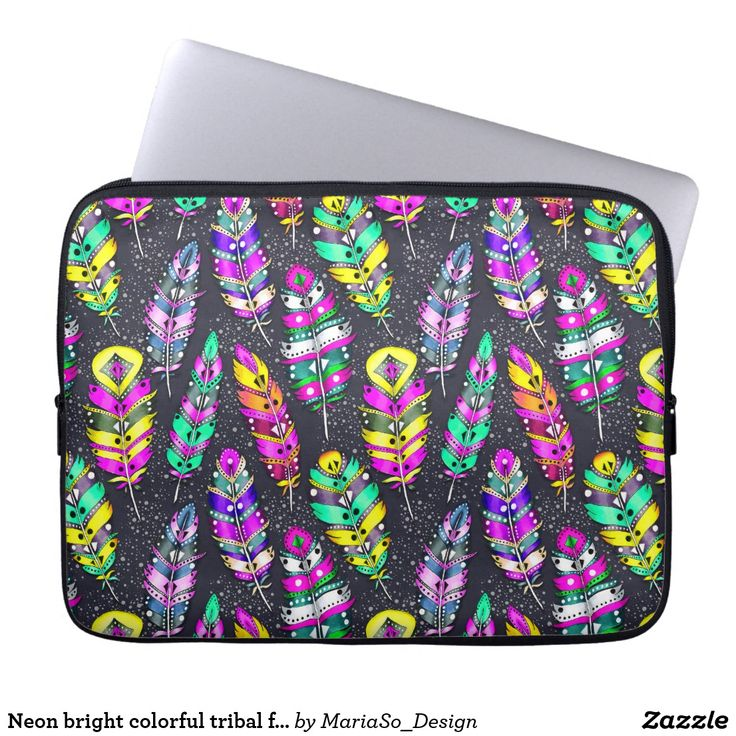 Neon bright colorful tribal feathers pattern dark computer sleeve