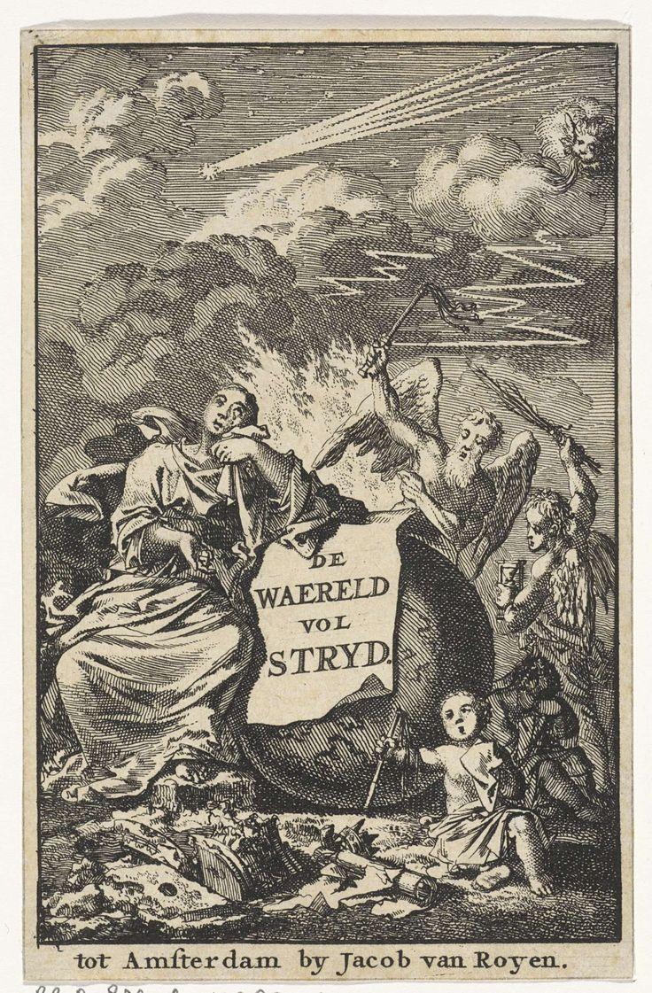 Jan Luyken | Titelpagina voor:  'Waereld vol Stryd', 1706, Jan Luyken, Jacob van Royen, 1706 | De wereldbol wordt geflankeerd door twee huilende kinderen en een wenende vrouw. Op de achtergrond de oude en de nieuwe tijd.
