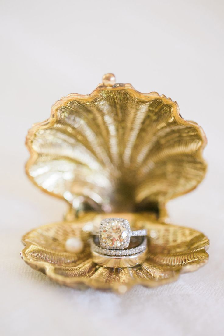 Vintage gold shell ring box: Photography : Rebecca Arthurs Read More on SMP: http://www.stylemepretty.com/2016/04/29/the-quintessential-summer-wedding-youve-only-dreamed/