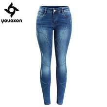 2086 Youaxon Women`s Crossing Line Patchwork Plus Size Brand New Mid Low Waist Stretch Skinny Pants Jeans For Women Denim Jean(China (Mainland))
