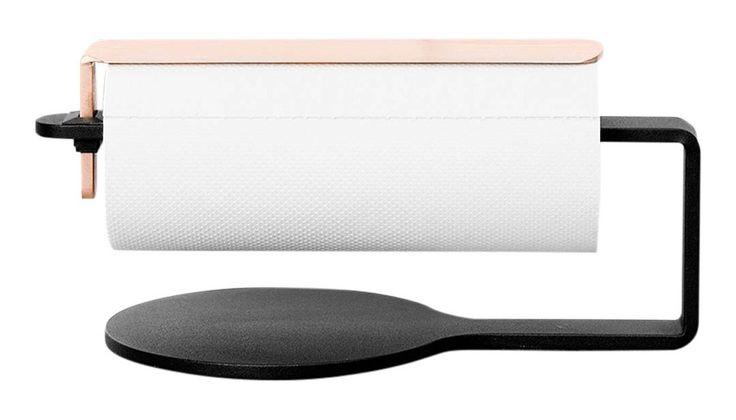Curve Hushållspappershållare - Svart/Koppar | Scandinavian Design Factory | Vålamagasinet