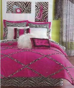 Zebra Print Bedding For Girls | Forter Set Girls Funky Hot Pink Lime Green And Black Bedroom Decor