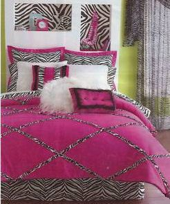 Zebra Print Bedding For Girls | Forter Set Girls Funky Hot Pink Lime Green And Black Bedroom Decor