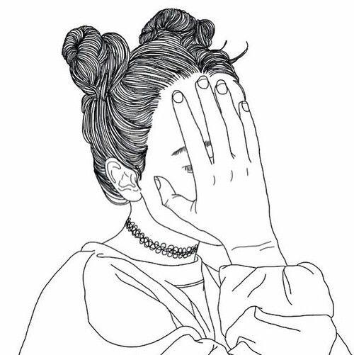 noir, dessin, fille, grunge, Tumblr, blanc                                                                                                                                                                                 Plus