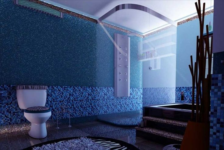 Bathroom Blue Wall Tile Designs Ideas with incredible corner walk in shower and toilet seat