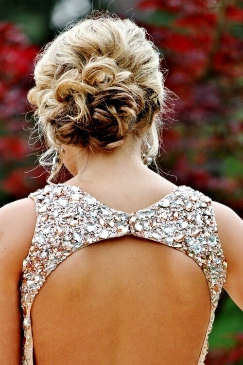 Best Hairstyle For Your Prom Dress : Messy bun prom hair style
