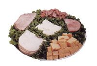 All Sorts Tray  Sandwich fixings and finger food including sliced baked ham, roast beef, turkey breast and swiss cheese along with cubed longhorn cheese and smoked ring bologna.