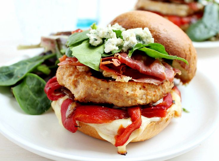 ... Burgers with Blue Cheese + Serrano Ham Chips + Roasted Red Peppers