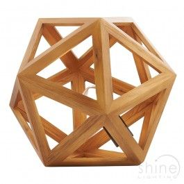 Graph GRA4243 Dar LightingContemporary Table Lamp Features A Geometric Rubberwood Structure Has Natural