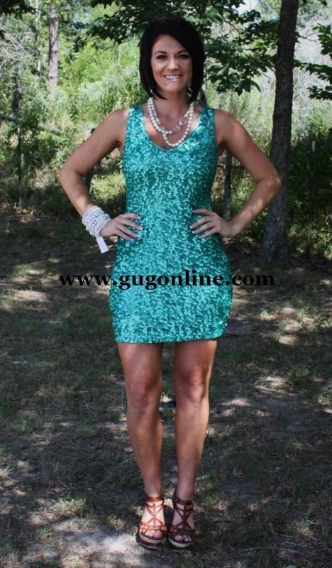Giddy Up Glamour - Sparkly Turquoise Tank Dress