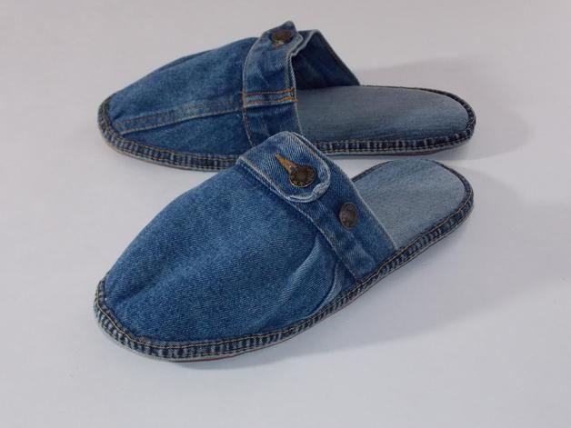 hausschuhe pantoffeln jeans recycling hausschuhe pantoffeln ein designerst ck von. Black Bedroom Furniture Sets. Home Design Ideas