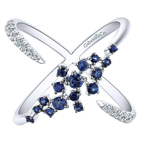 14k White Gold Diamond  And Sapphire Fashion