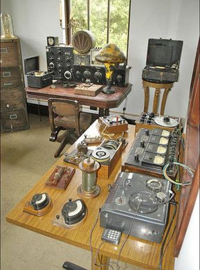 Collection of antique science instruments displayed in recreated 1870-1930 laboratories
