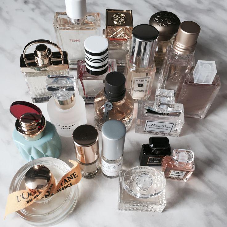 Mini perfume collection 2017:  Ft. L'Occitane, Tom Ford, CLEAN, Chanel, Miu Miu, Dior, Bottega Veneta, Flora Botanica, Jo Malone, Burberry, Tocca, Tory Burch, Chloe and Hermes.