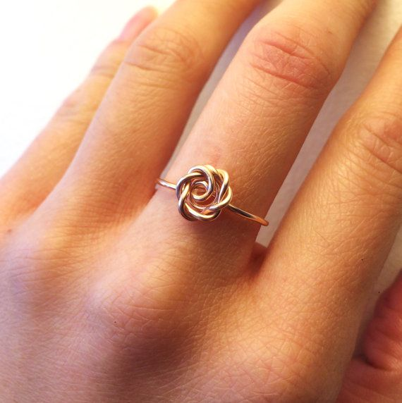 Rose Ring Rose Gold ~14K Gold-Filled /Sterling Silver Wire ~Flower Girl /Pink /Love /Girlfriend Gift /Bridesmaids /Valentine's /Anniversary