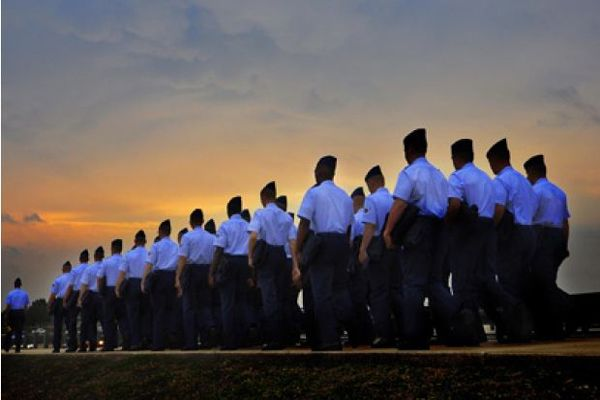 Basic trainees march to the parade grounds for their graduation from Lackland Air Force Base, Texas. Photo by Cecilio Ricardo/Courtesy U.S. Air Force