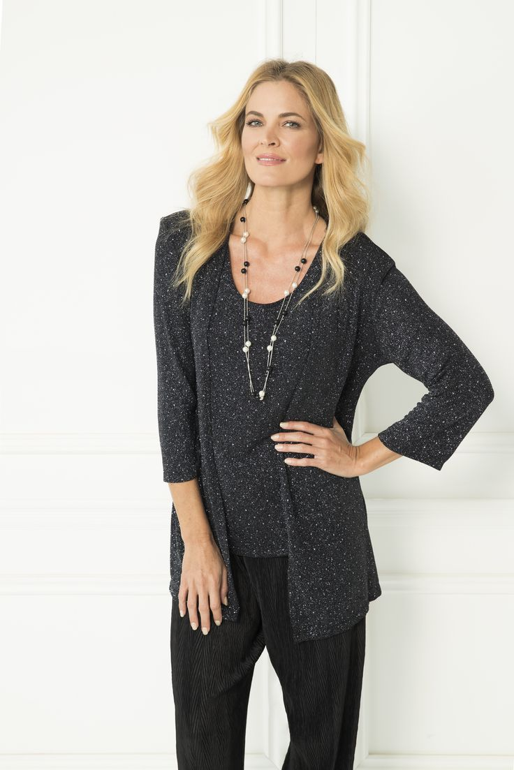 Occasionwear never looked so good! The Birlie Twinset combines a wonderfully classic twinset cut, with an ultra stylish metallic fabric. Whether you wear it to a wedding, a cocktail event or even a dinner date, this twinset is the perfect addition to your autumn wardrobe.  3/4 sleeve Low round neckline Separate cami.
