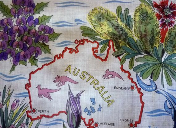 1960s vintage swiss cotton handkerchief Australiana theme